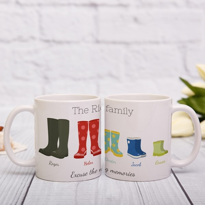 Picture of Wellie family personalised mug