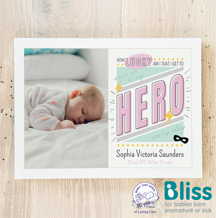 Picture of Hero baby pink personalised poster