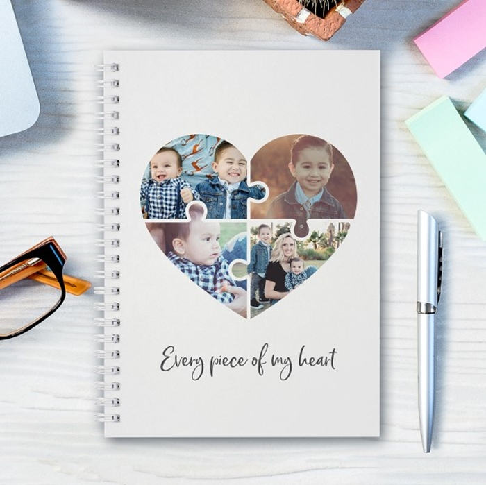 Picture of A5 jigsaw heart hardcover spiral notebook