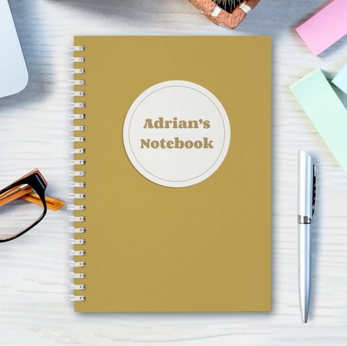 Picture of A5 mustard spiral personalised notebook