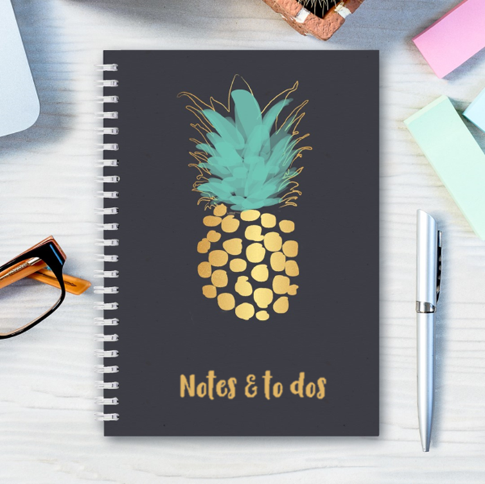 Picture of Pre-made A5 pineapple stripe hardcover spiral notebook