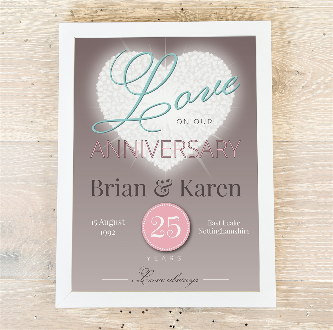 Picture of A4 Anniversary Shining Heart personalised poster