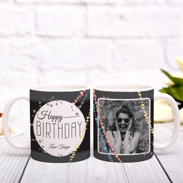 Picture of Happy Birthday Photo Personalised Mug