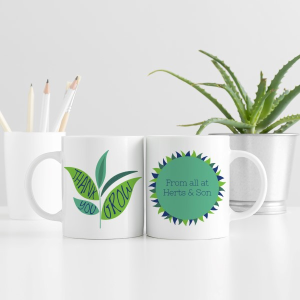 Picture of Corporate thank you leaf personalised mug