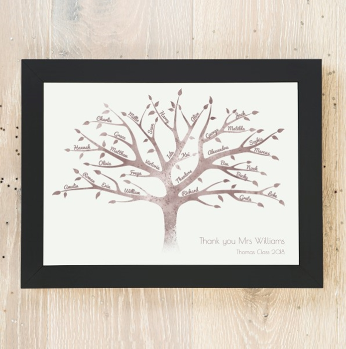 Picture of A4 Watercolour Teacher Thank You Tree personalised poster