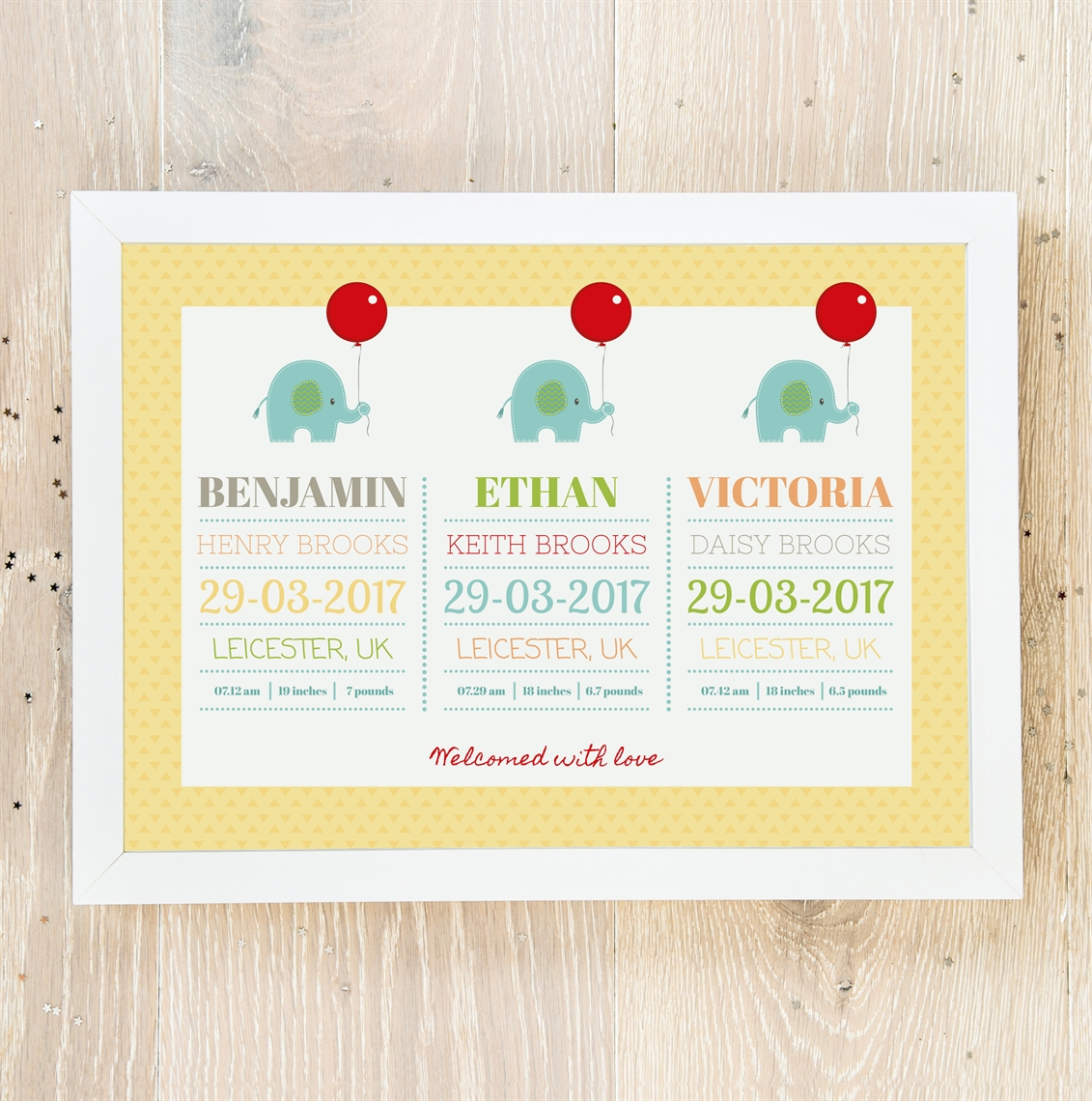 Picture of Cute Elephant Triplet Babies personalised poster