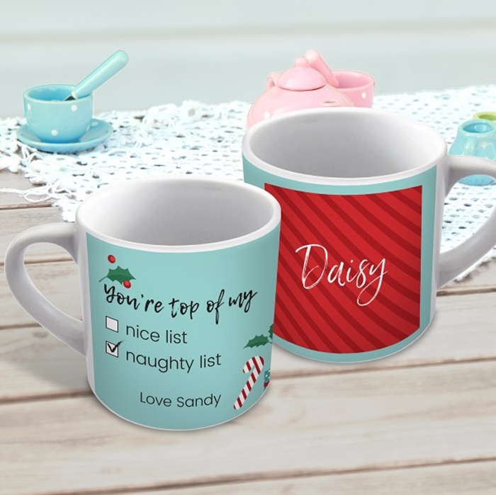 Picture of Naughty list Christmas child's personalised mug