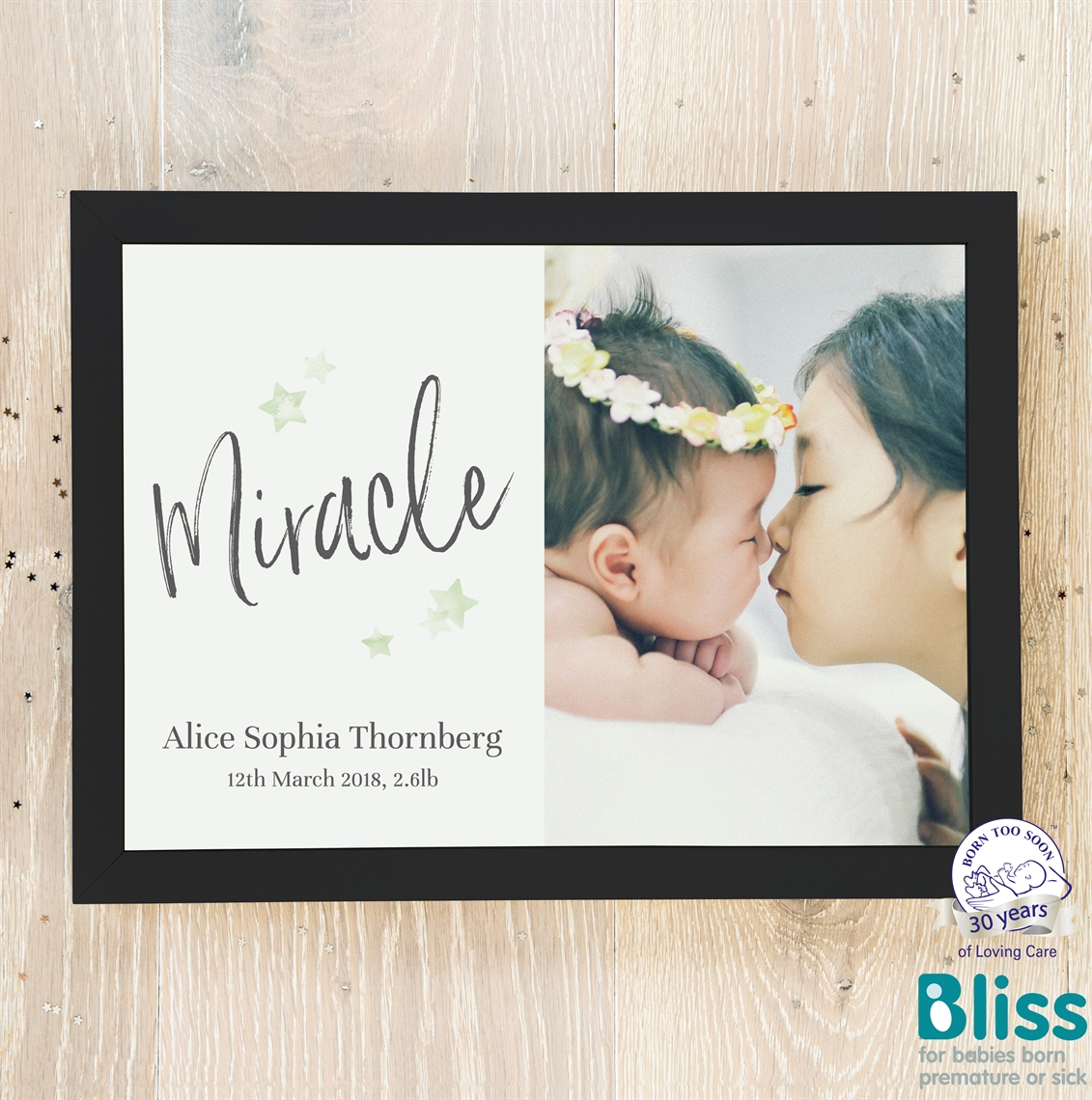 Picture of Miracle script baby personalised poster