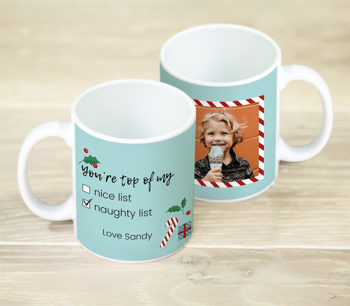 Picture of Christmas naughty list personalised mug