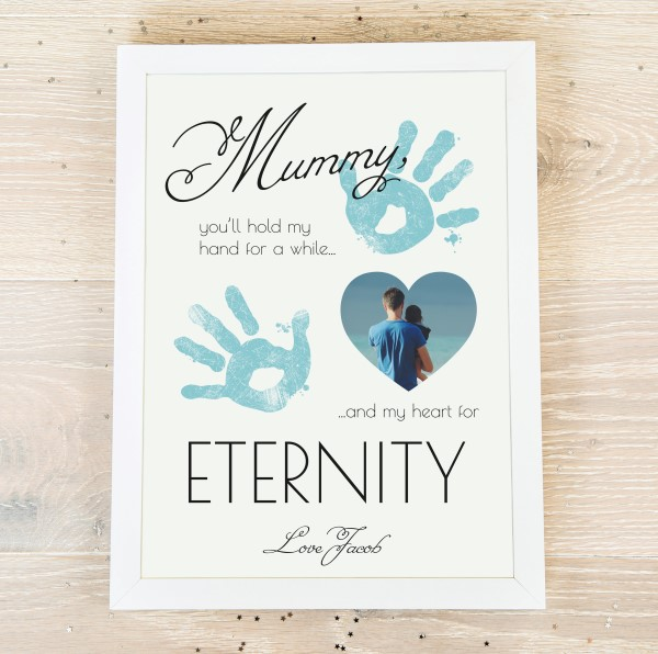 Picture of Mummy Aqua hand print personalised poster