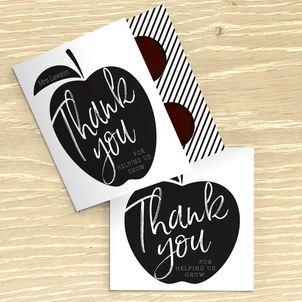 Picture of Thank You Teacher Apple personalised chocolate card