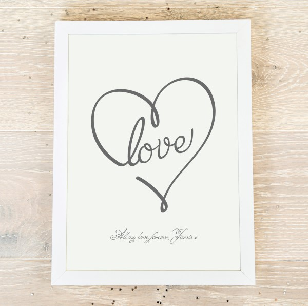Picture of A4 Love Heart personalised poster