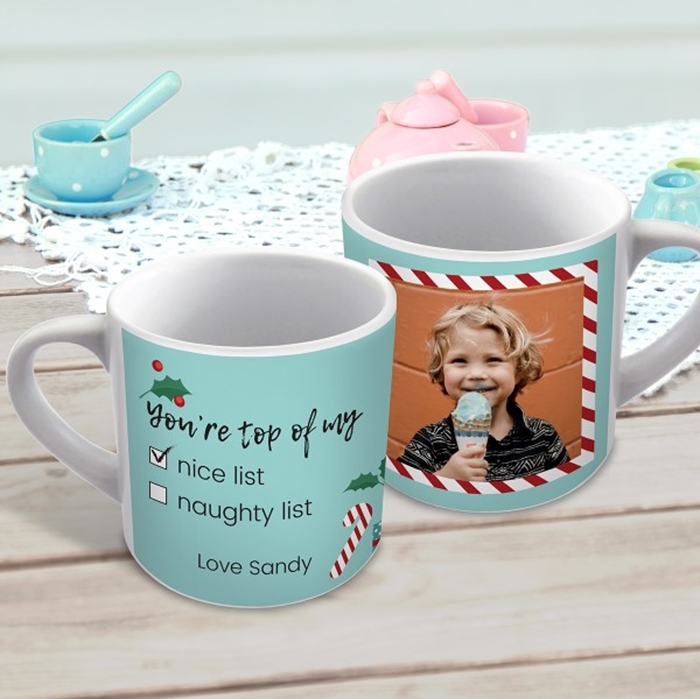 Picture of Nice list Photo Christmas child's personalised mug