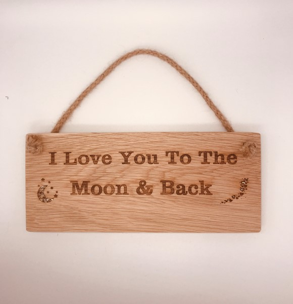 Picture of PRE-MADE Love you to the moon wooden door sign