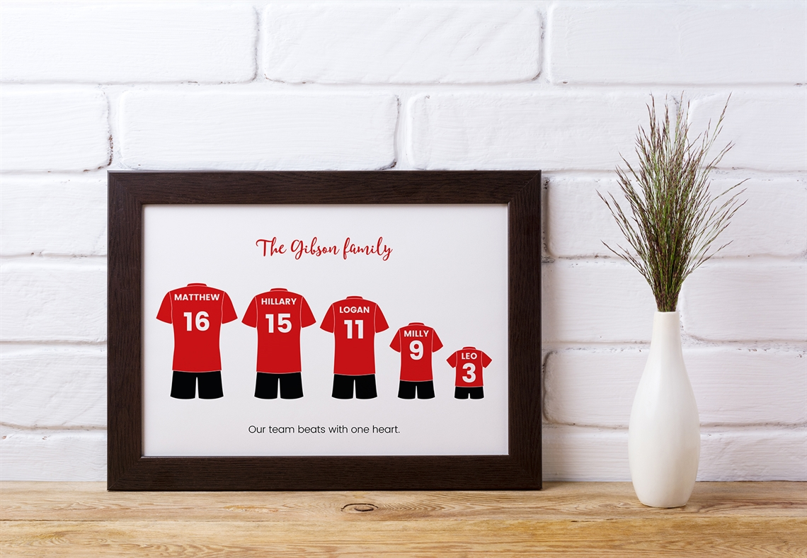Picture of A3 football kit family personalised poster