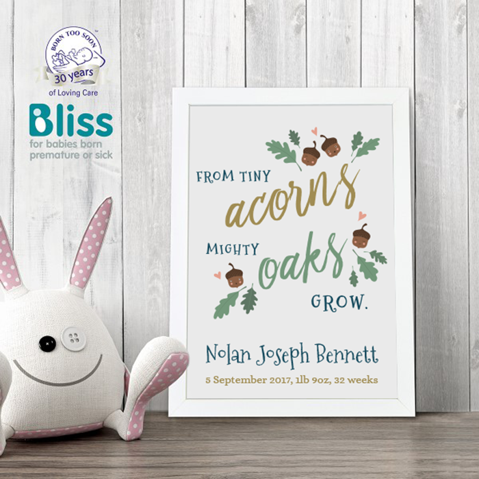 Picture of From tiny acorns personalised poster