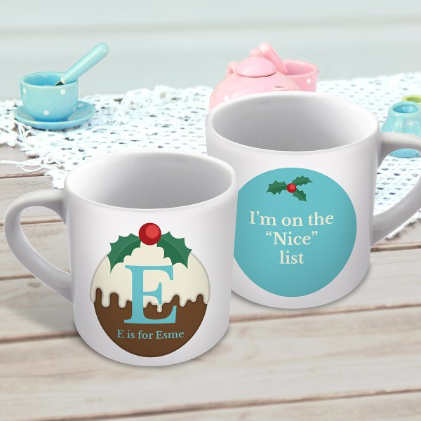 Picture of Christmas pudding letter child's personalised mug