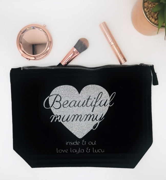 Picture of Sparkly heart large personalised black cosmetic bag