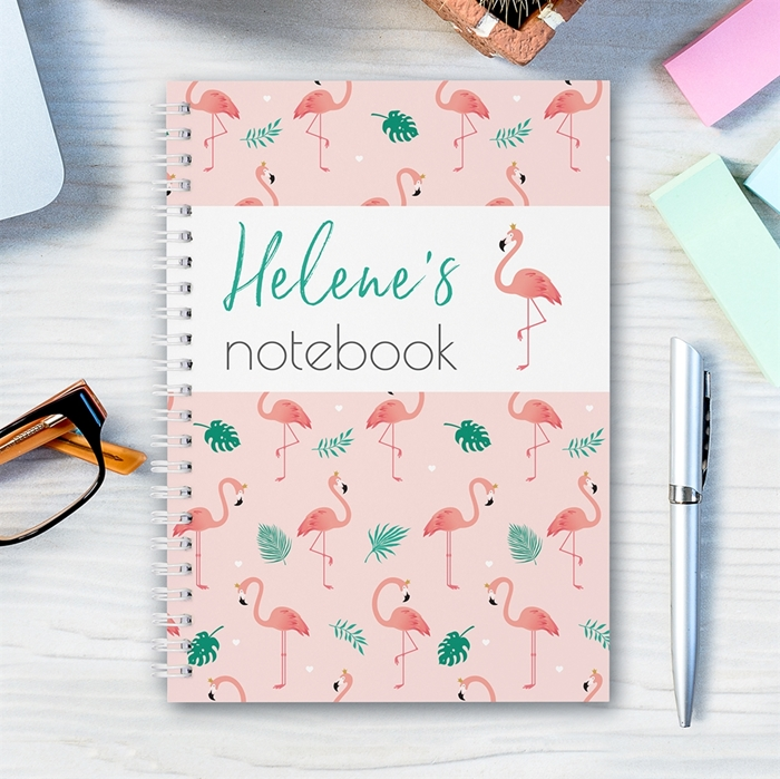 Picture of A5 flamingo hardcover spiral notebook